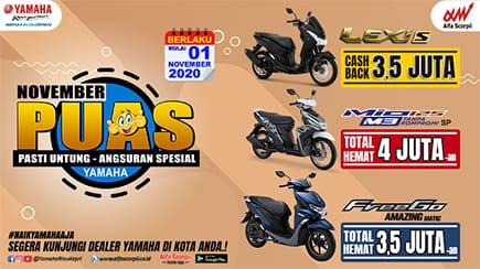 Promo Yamaha November PUAS (Pasti Untung Angsuran Spesial)